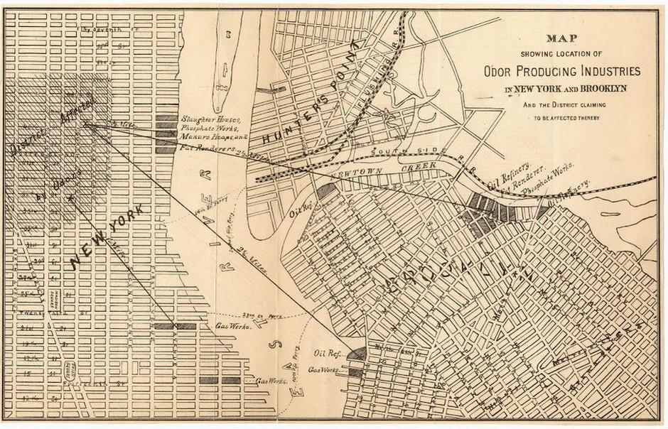 Mapa výskytu zapáchajících provozů a výrob v New Yorku z cca r. 1870 zdroj: www.citylab.com/