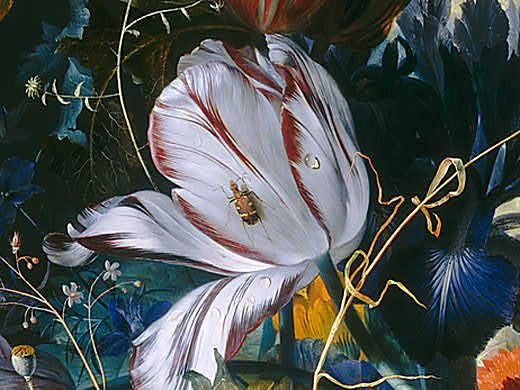 jan van huysum, still life with flowers and fruit (detail)